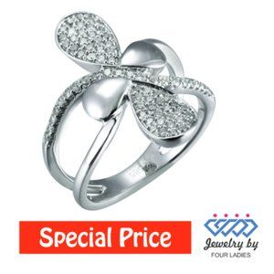 Cluster Diamond Floral Cocktail Ring White Gold